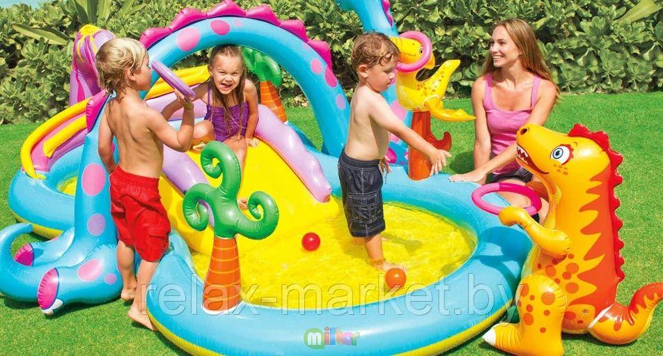 ...Надувной бассейн, игровой центр с горкой Dinoland 333х229х112см, до